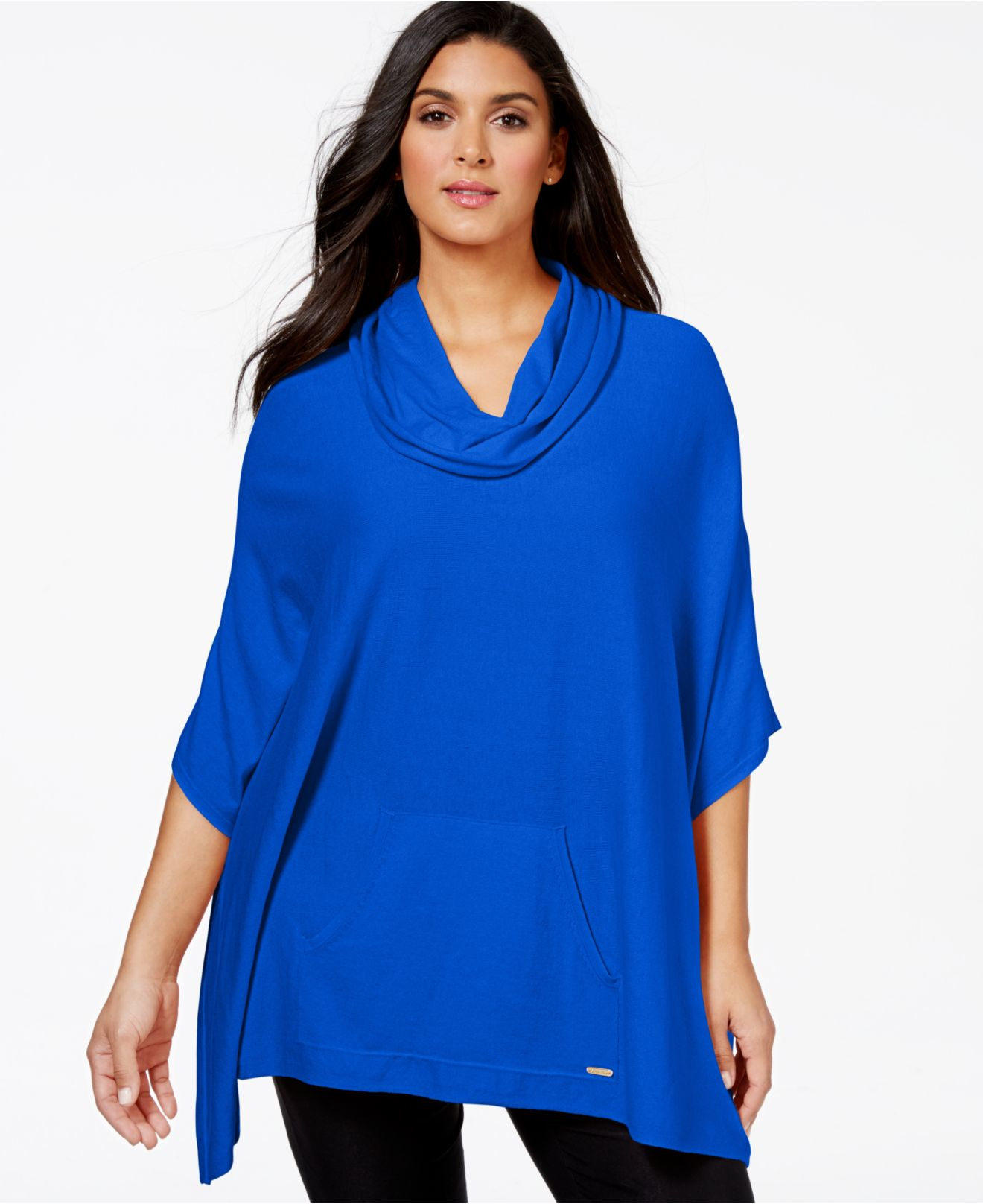 Calvin Klein Plus Size Cowl Neck Poncho Sweater In Blue Lyst
