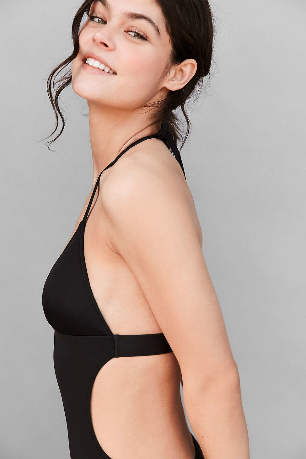 c7bd8382807 Calvin Klein Halter One-piece Swimsuit in Black - Lyst