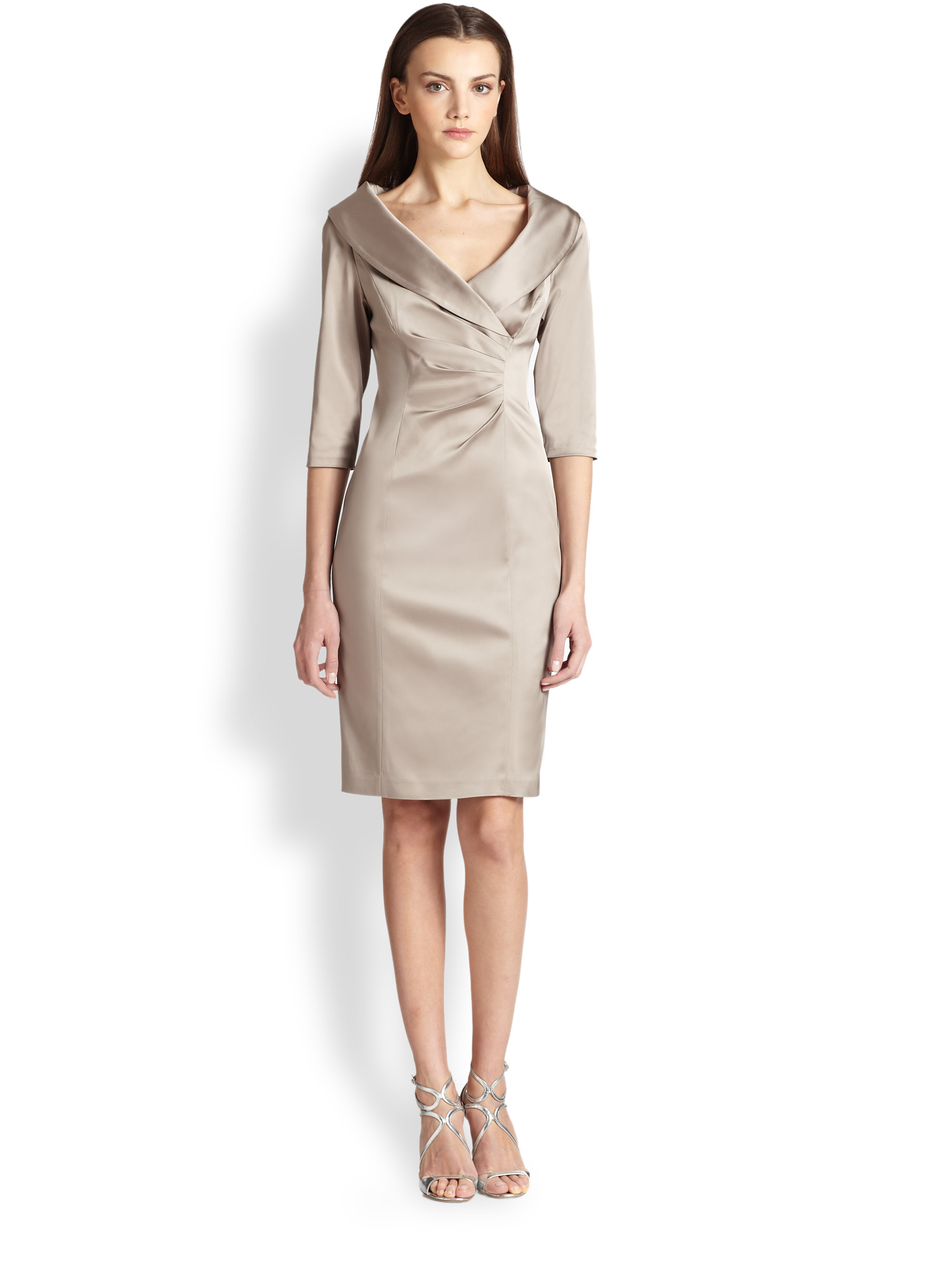 Kay Unger Stretch Satin Shawl Collar Dress In Natural Lyst