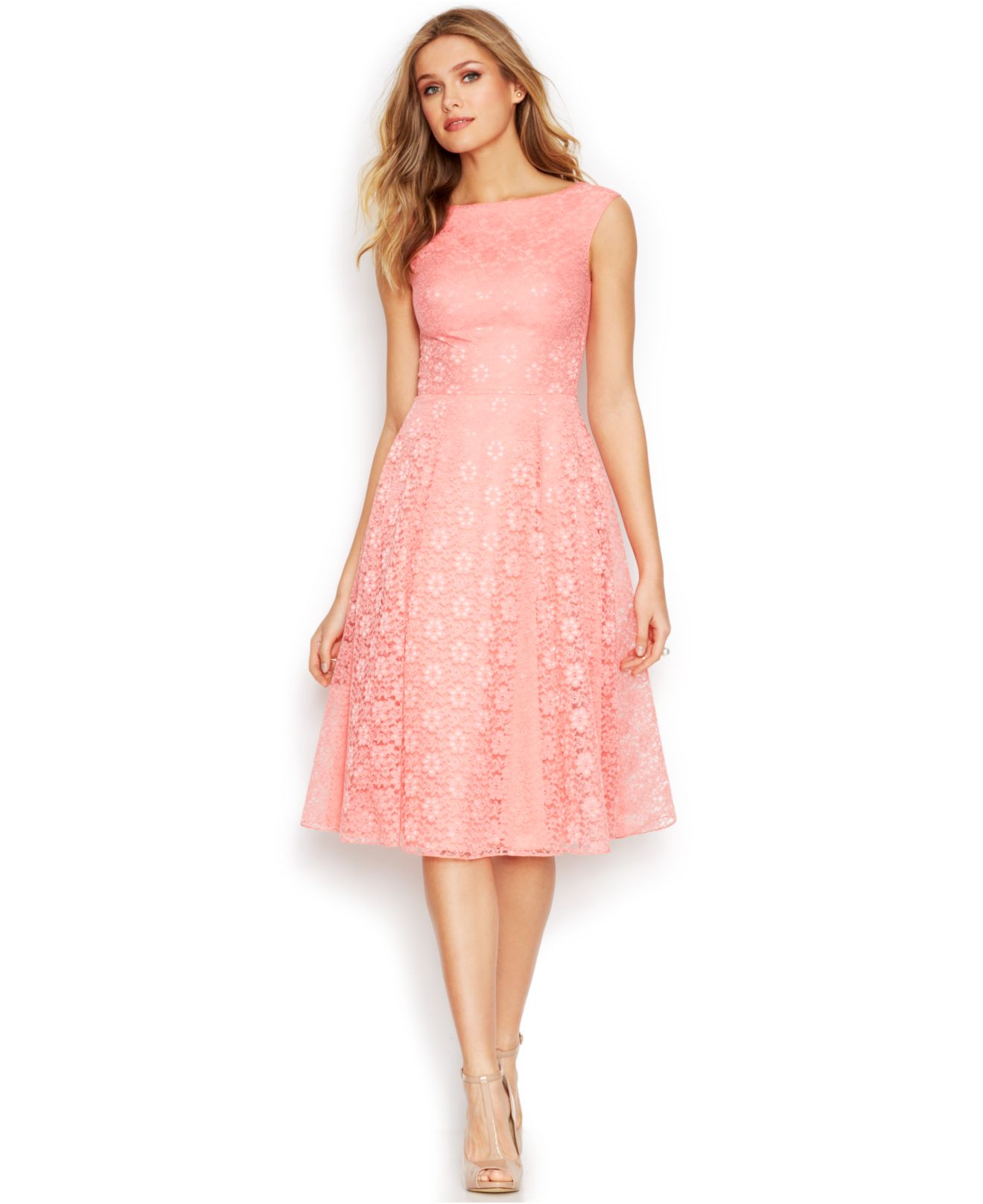 Betsey Johnson Floral Lace Tea Length Dress In Pink Lyst