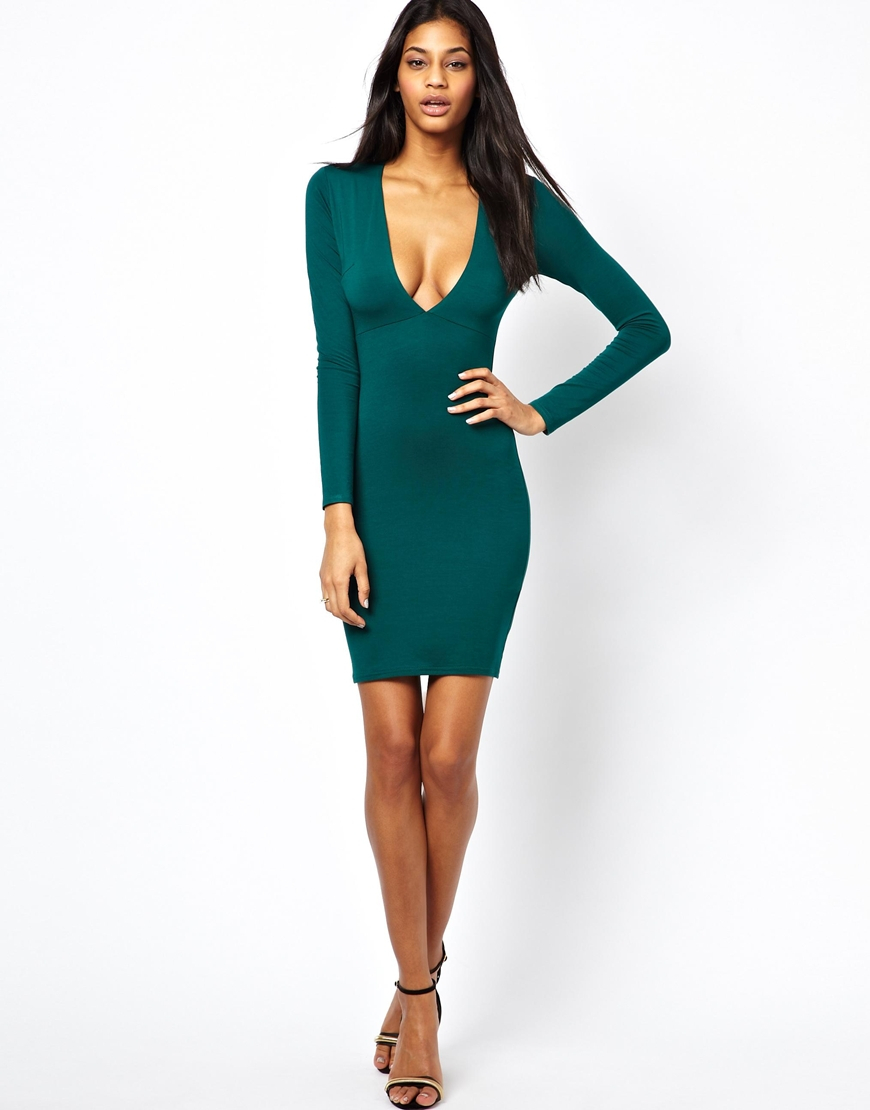 Lyst - ASOS Deep Plunge Long Sleeve Body-conscious Dress in Green 781a454b5
