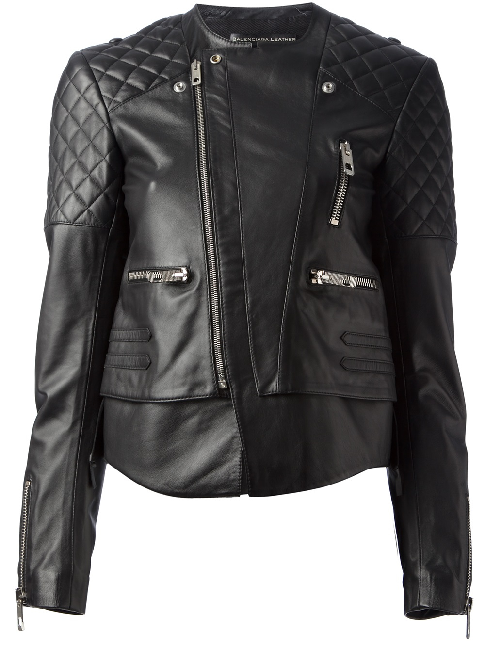 Lyst Balenciaga Quilted Leather Biker Jacket In Black