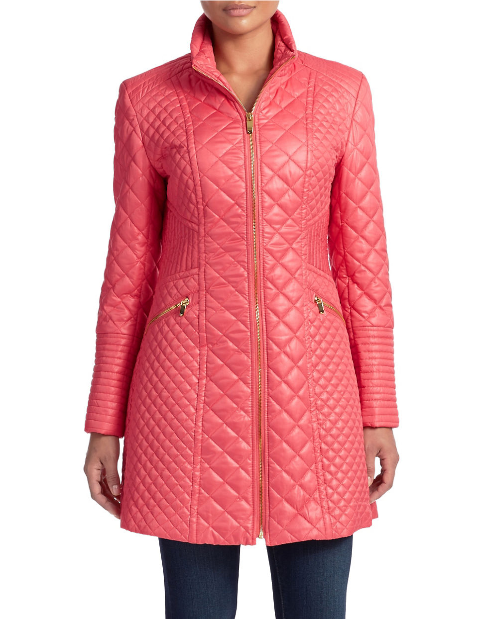 Via Spiga Diamond Quilted Hooded Coat In Pink Lyst