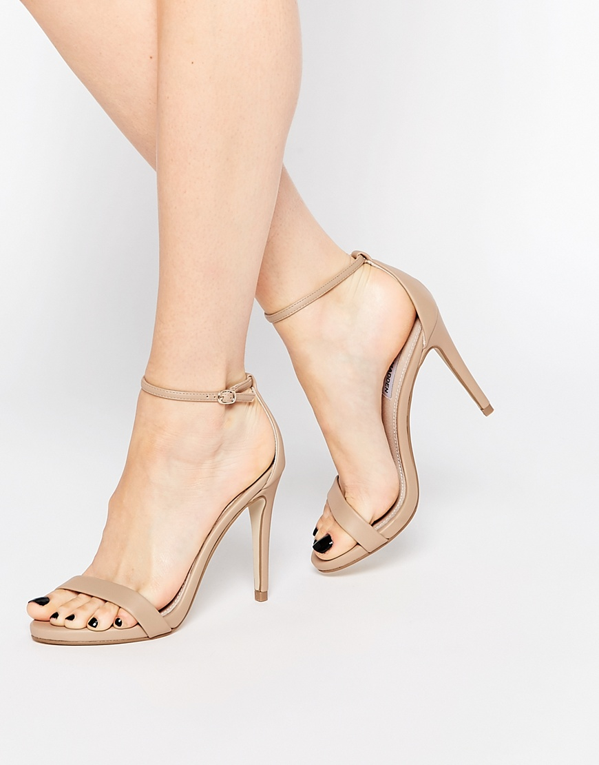 dbafb35ff2a2 Lyst - Steve Madden Stecy Nude Barely There Heeled Sandals in Natural