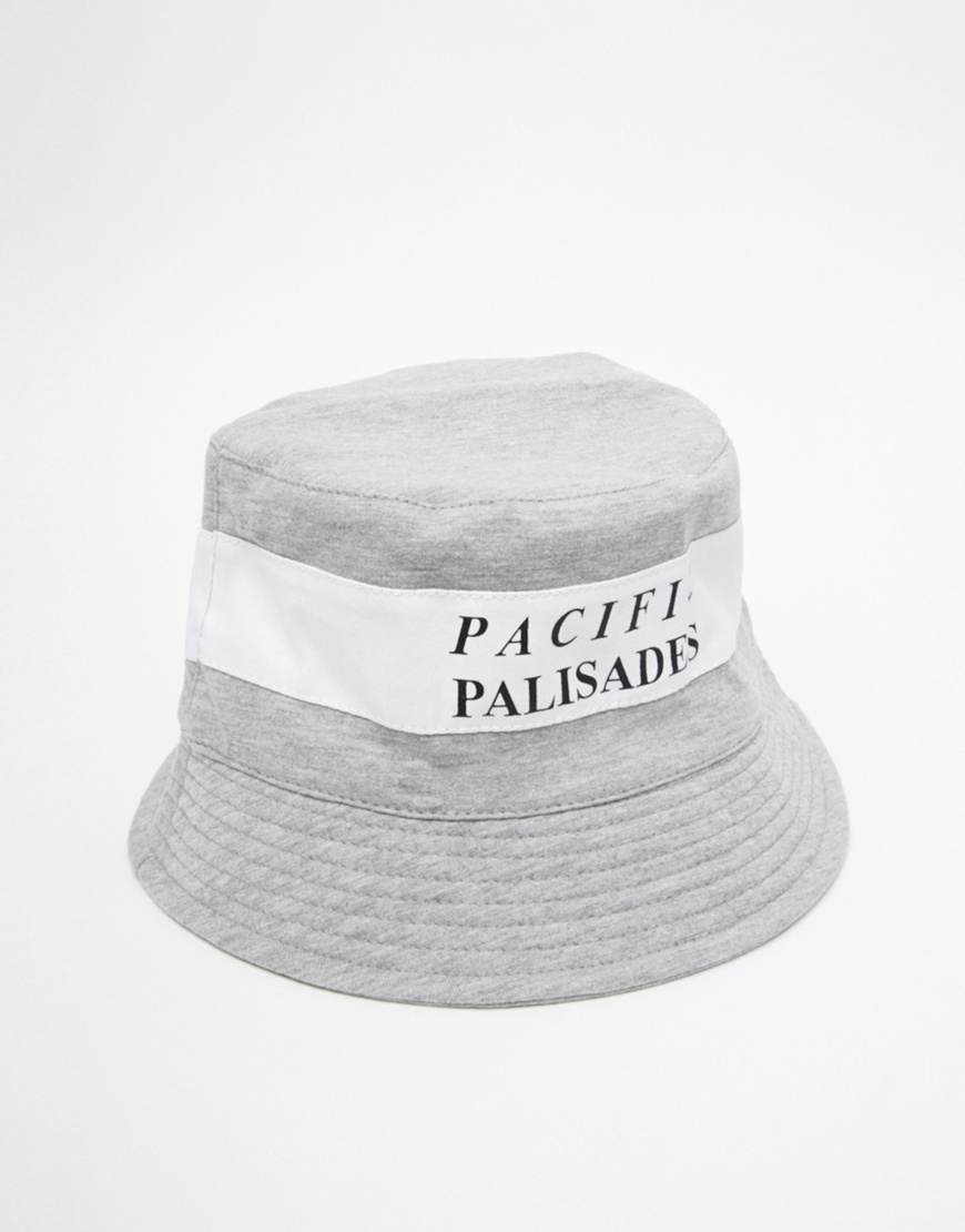 Lyst - Asos Bucket Hat In Grey With Pacific Palisades in Gray for Men 5fbacbac1