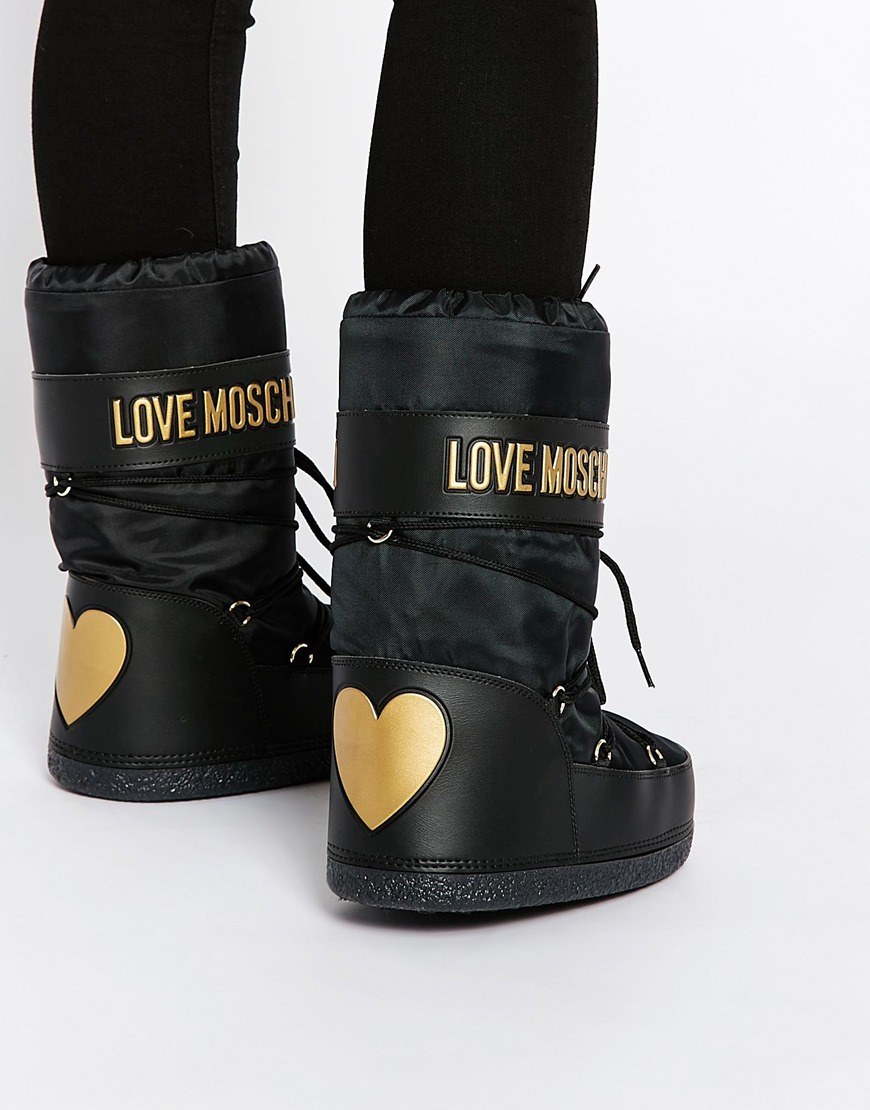 love moschino black snow boots in black lyst. Black Bedroom Furniture Sets. Home Design Ideas