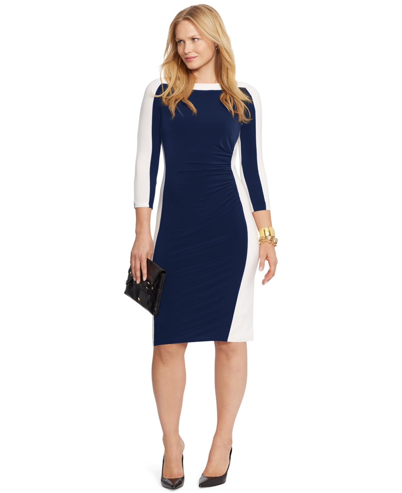 Lauren by Ralph Lauren Blue Plus Size Colorblocked Sheath Dress