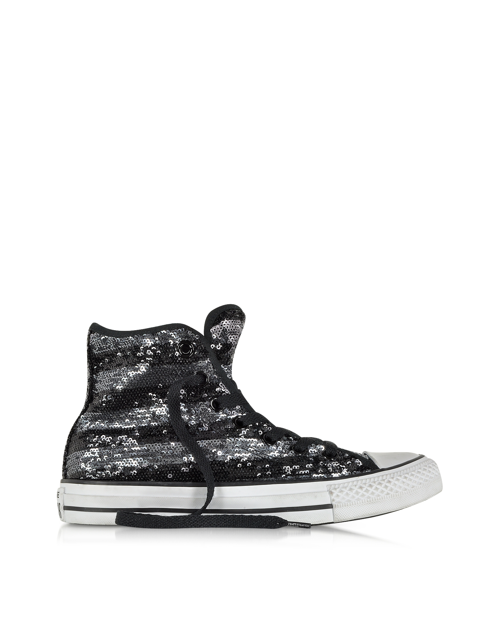 Lyst Converse All Star Hi Sequins Black And Silver