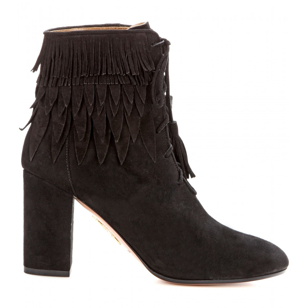 aquazzura woodstock fringed suede ankle boots in black lyst