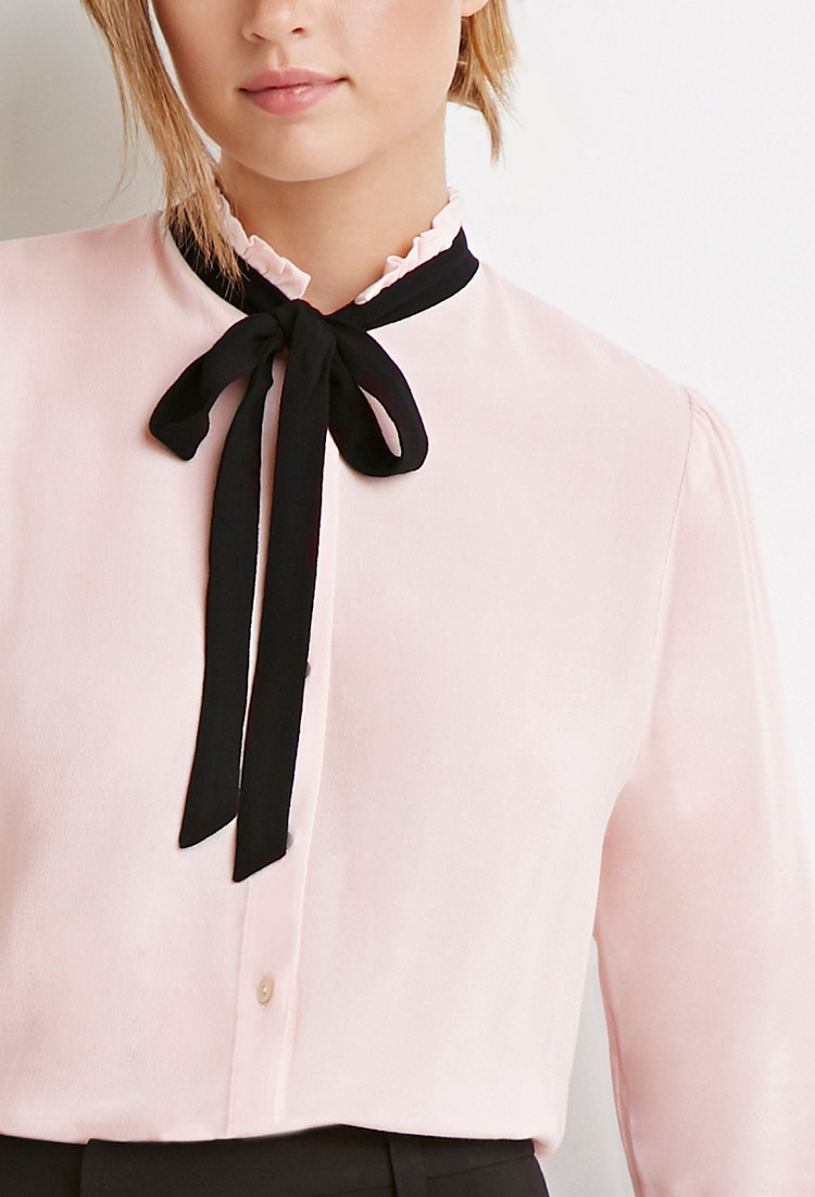 White Blouse With Black Bow Forever 21