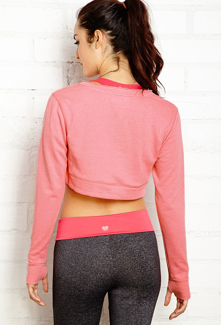 Lyst Forever 21 Post Workout Cropped Sweatshirt In Pink