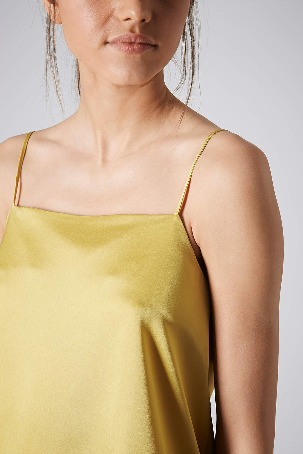 yellow satin cami lyst topshop satin straight neck cami top in yellow 3555