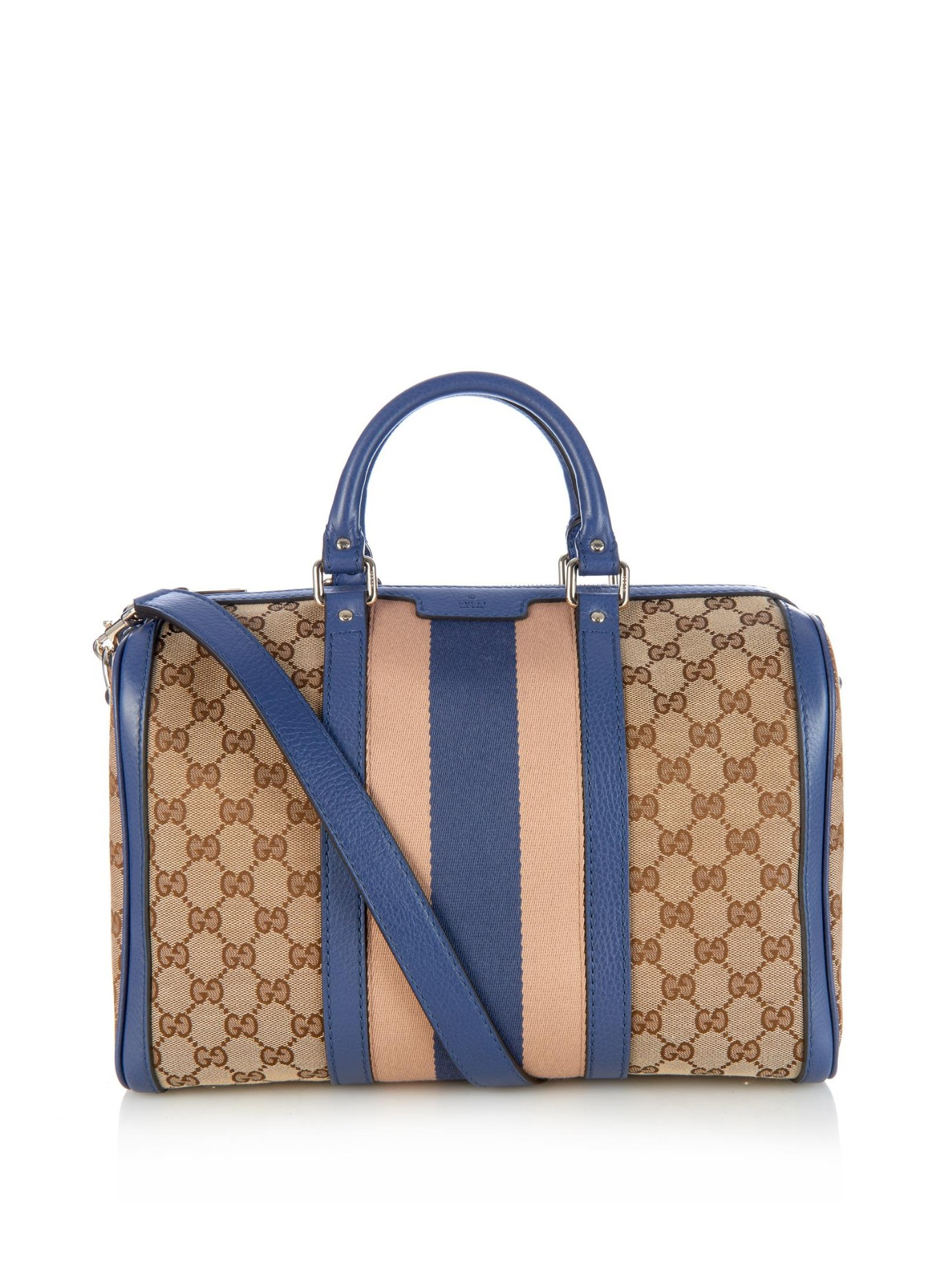 Gucci Brown X Multi Striped Coated Canvas Tote Bag p8fyAhaUWw