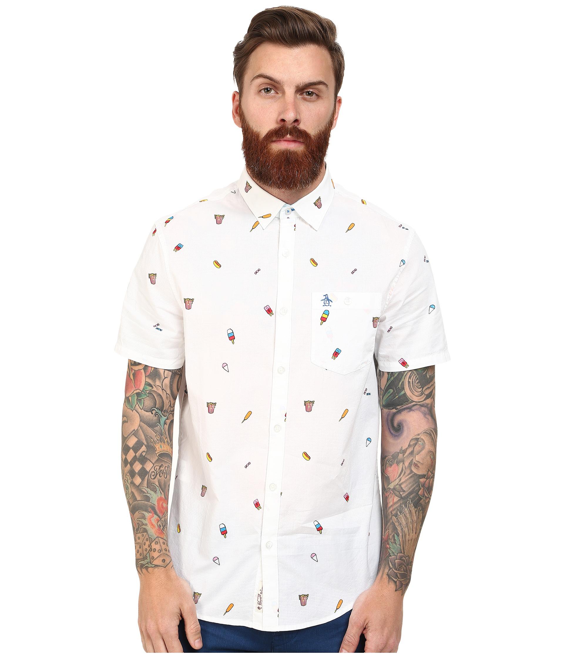 Original penguin carnival food print dobby woven short for Men s dobby shirt