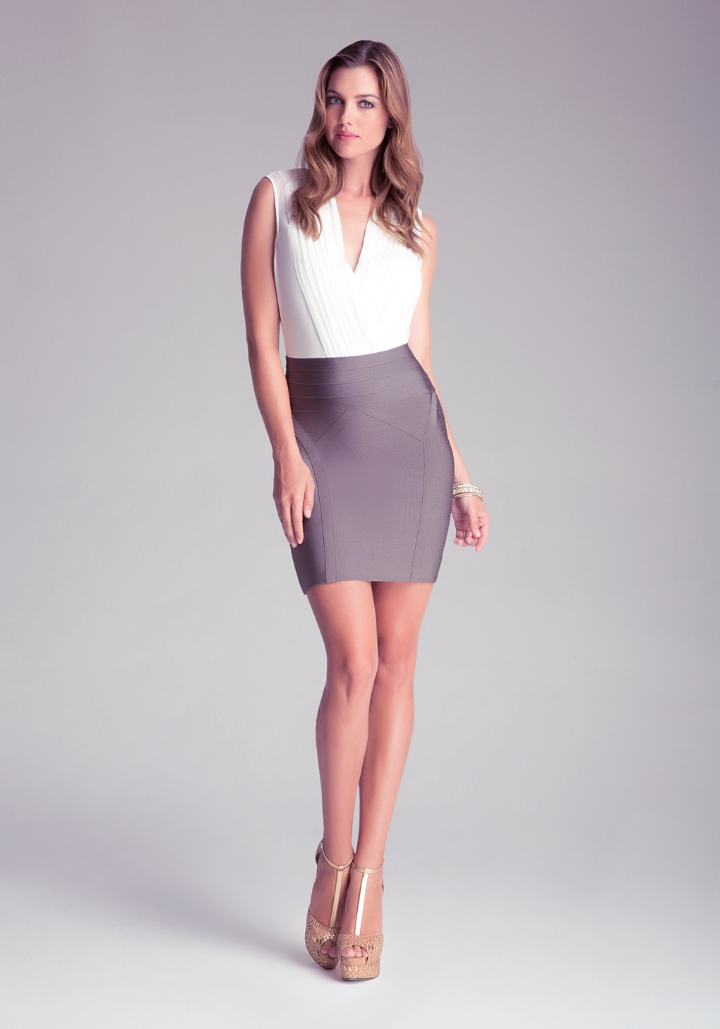 Bebe High Waist Bodycon Skirt in Green | Lyst