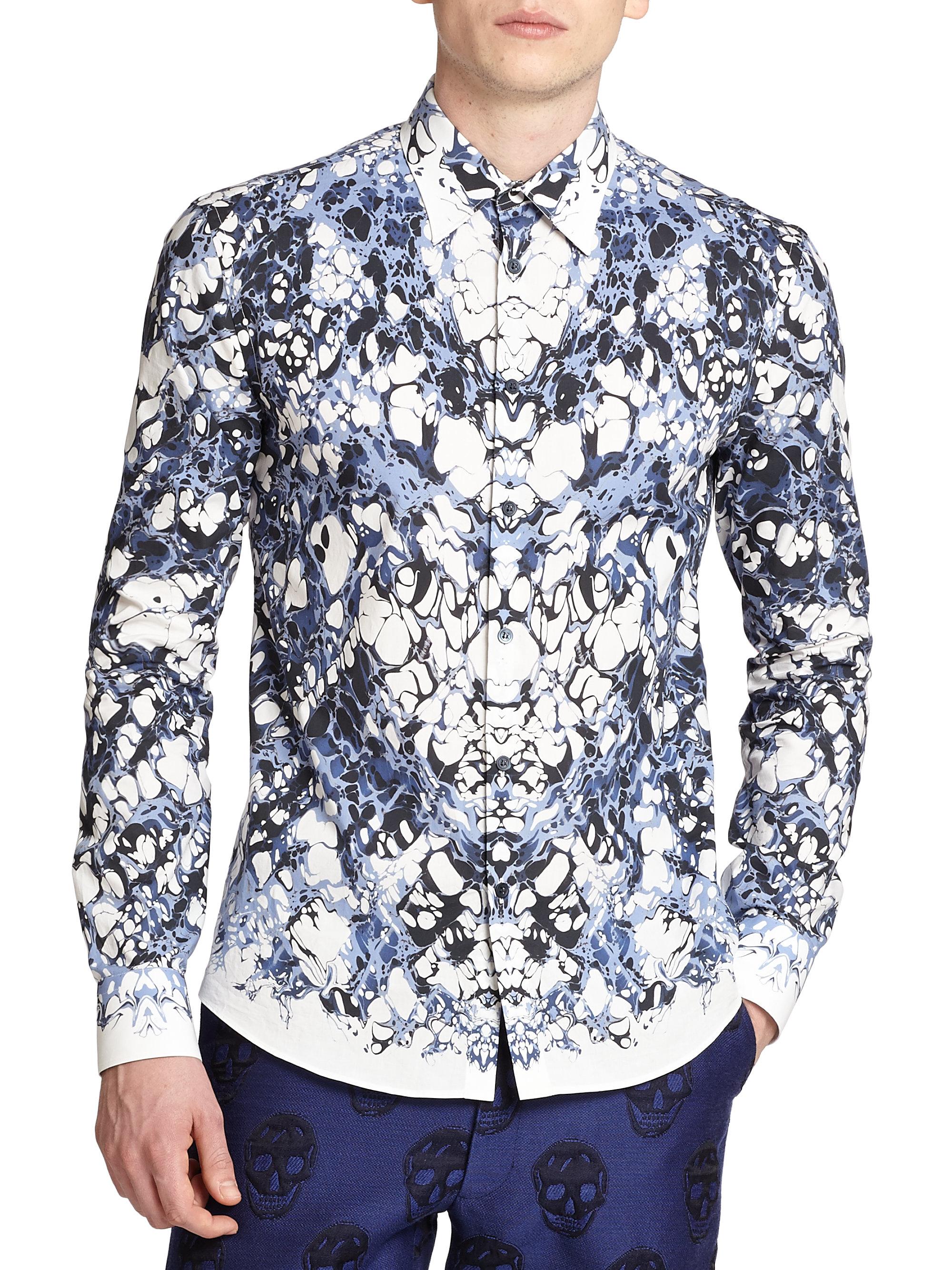 Lyst Alexander Mcqueen Marble Shirt In Blue For Men