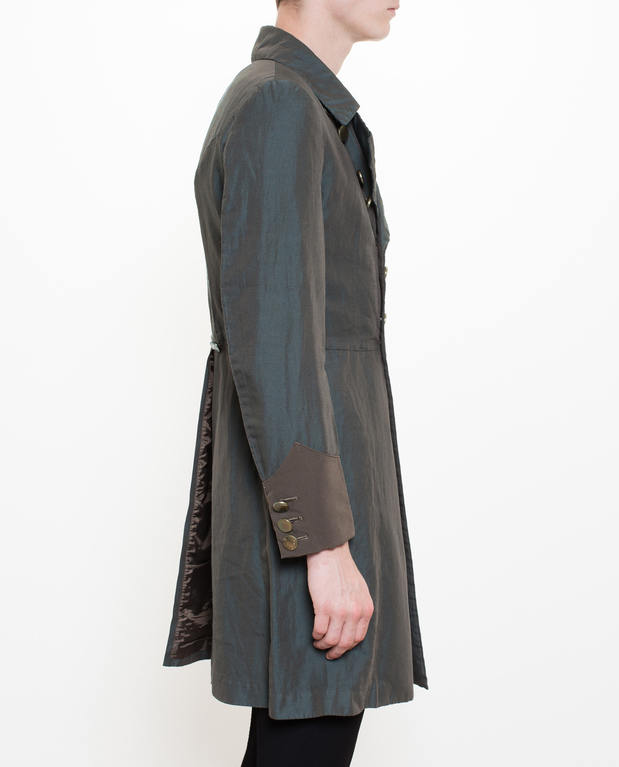 Comme des garçons Washed Linen Chambray Military Coat in Gray for ...