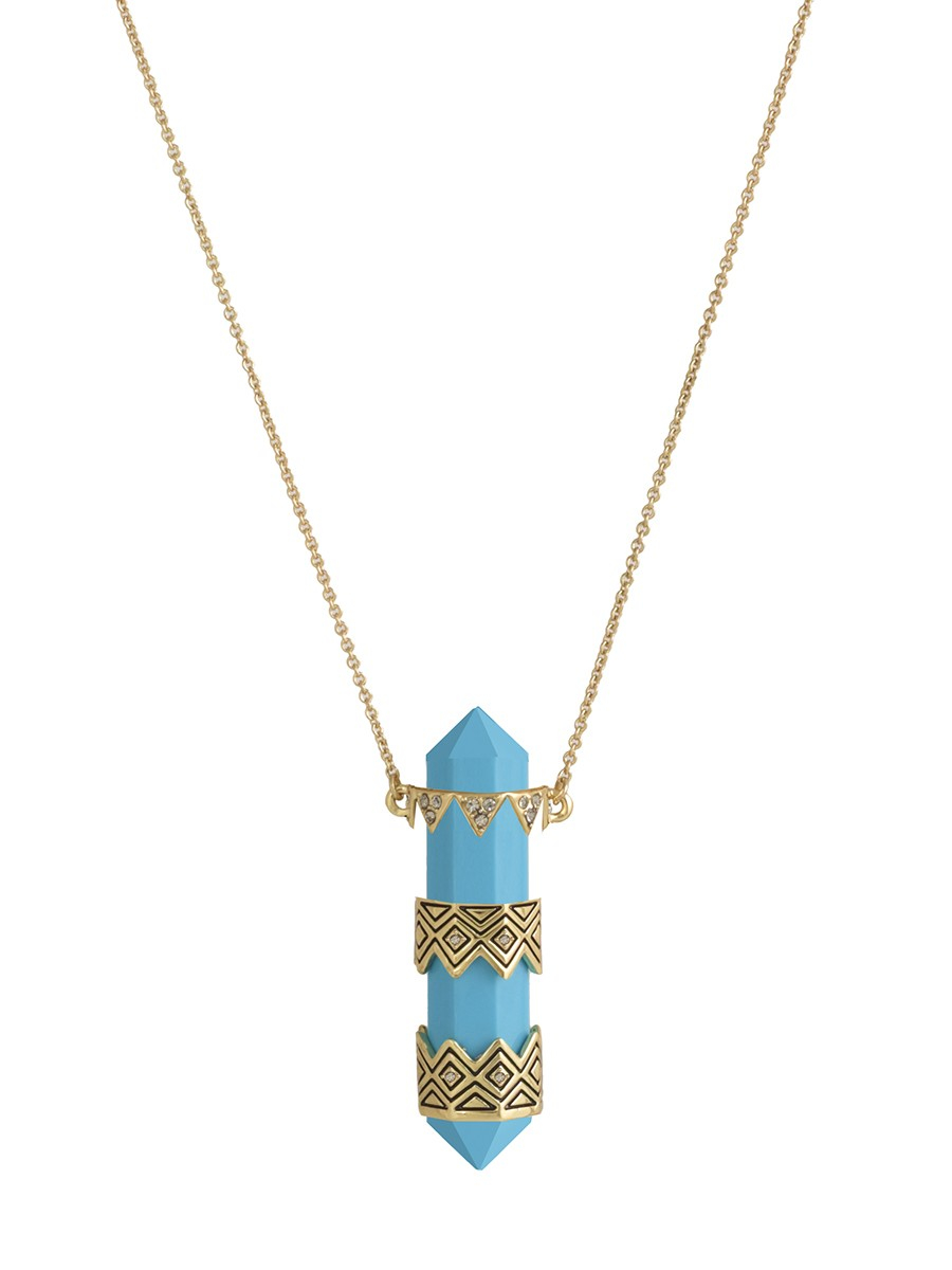 house of harlow 1960 prana pendant necklace in blue