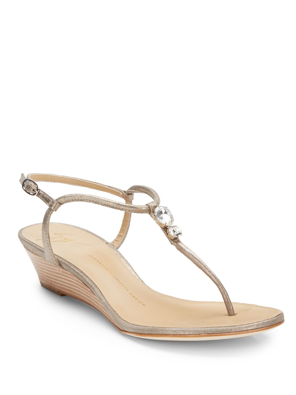 Lyst - Giuseppe Zanotti Jeweled Low Wedge Thong Sandals in Natural