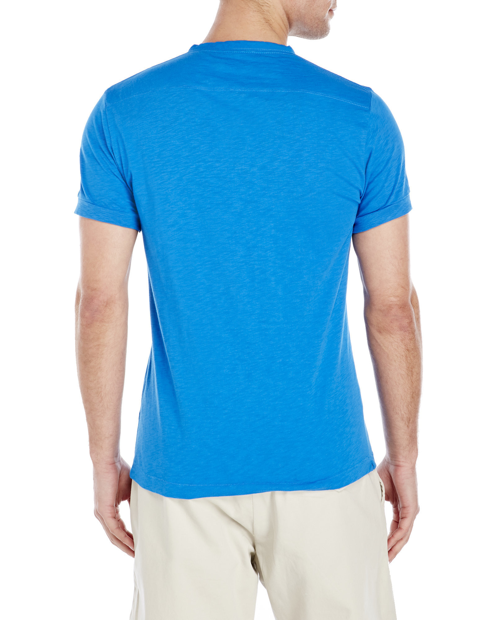 connection sleeve henley in blue for