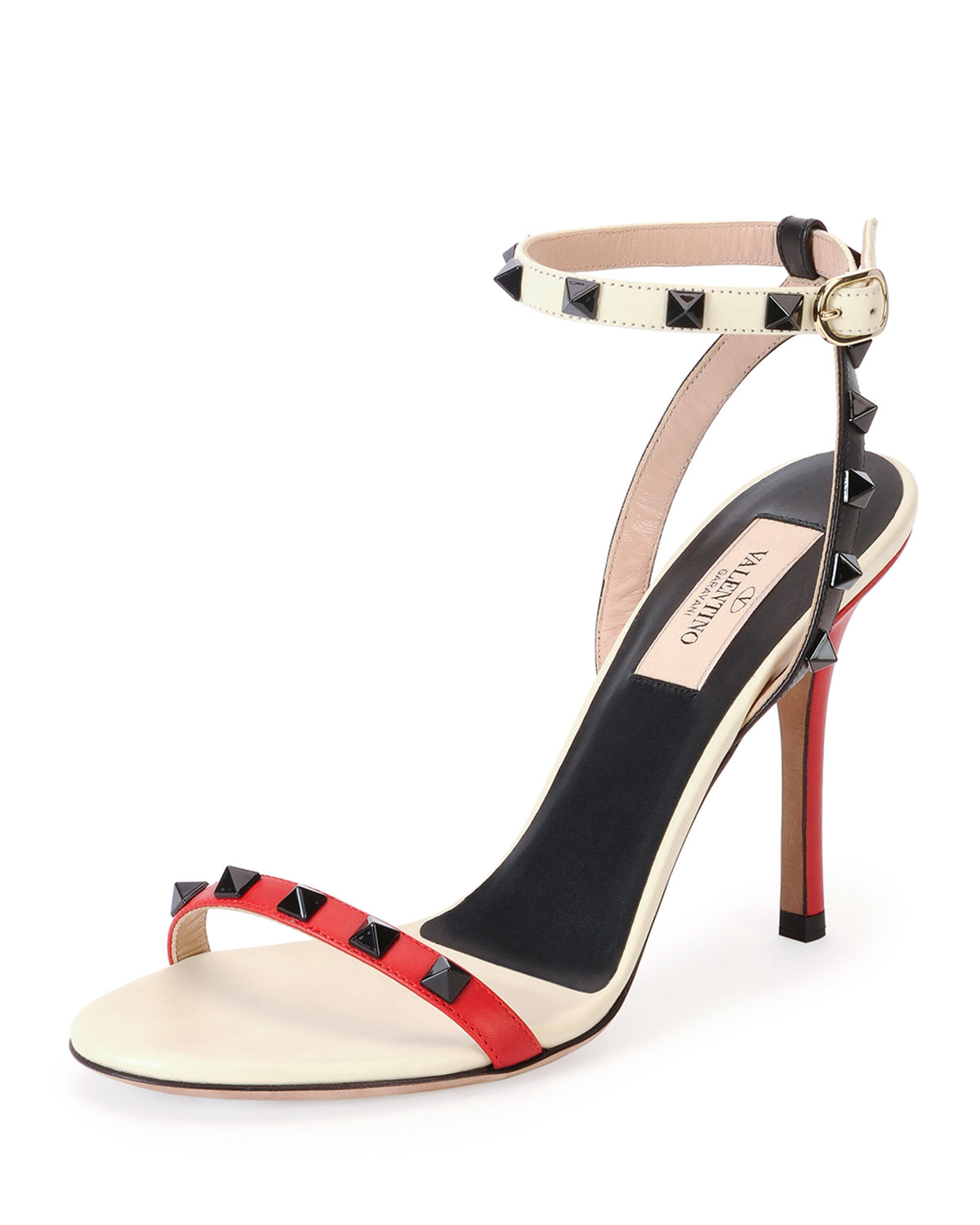 3cf998645524 Lyst - Valentino Rockstud Lacquer-stud Ankle-wrap Sandal in Red