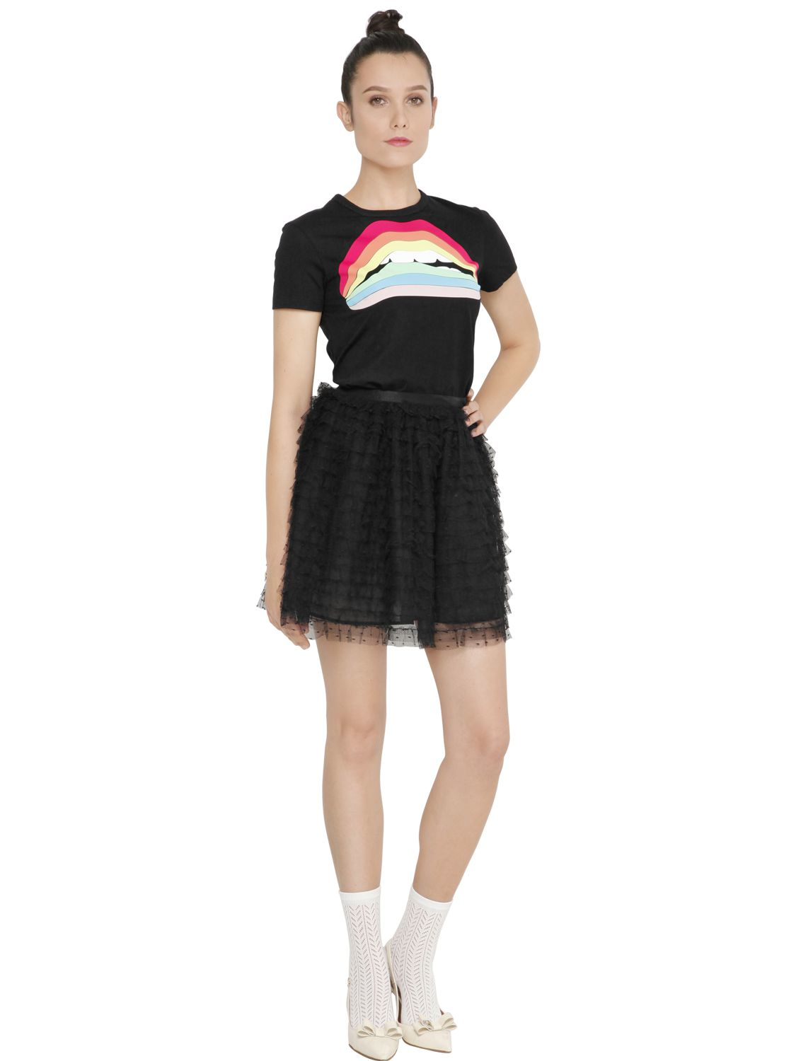 Red valentino lips patches on cotton jersey t shirt lyst for Red valentino t shirt