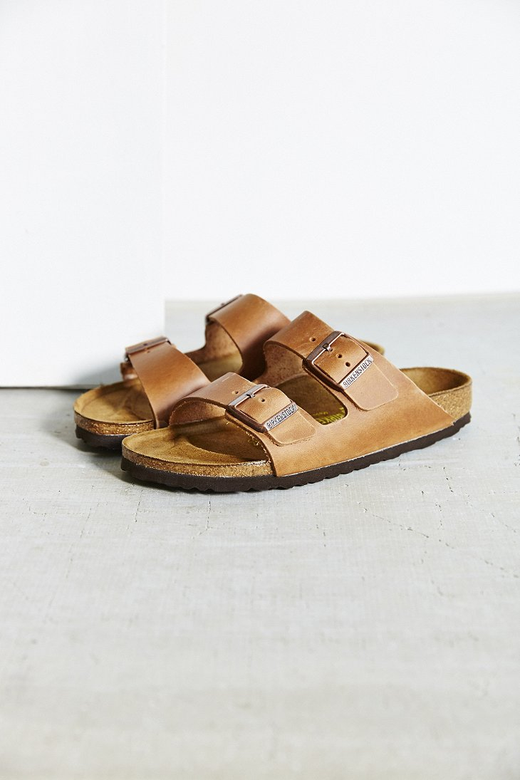 Birkenstock Antique Brown Leather Arizona Slide Sandal In