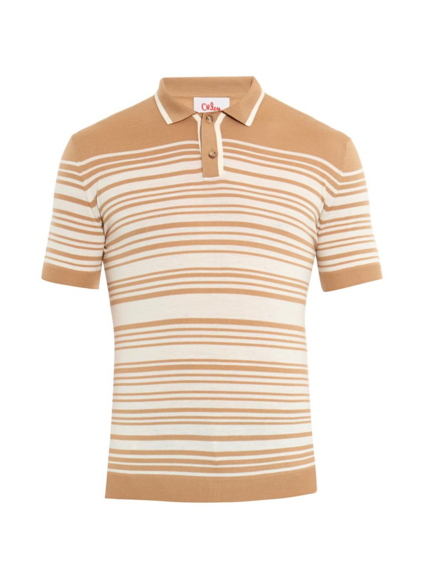 Lyst orley brooks striped knit polo shirt in brown for men for Knitted polo shirt mens