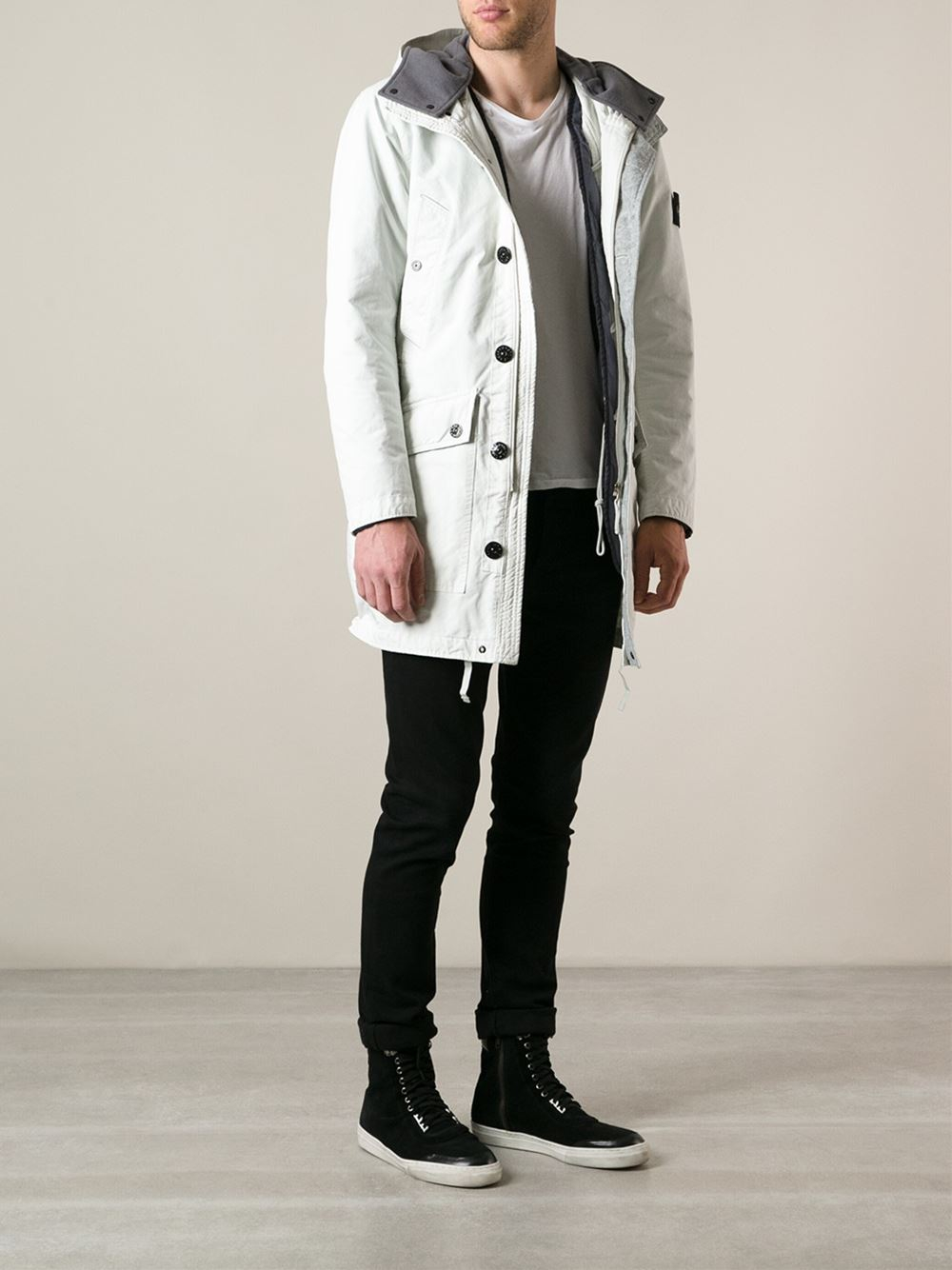 Stone island Hooded Parka in White for Men | Lyst
