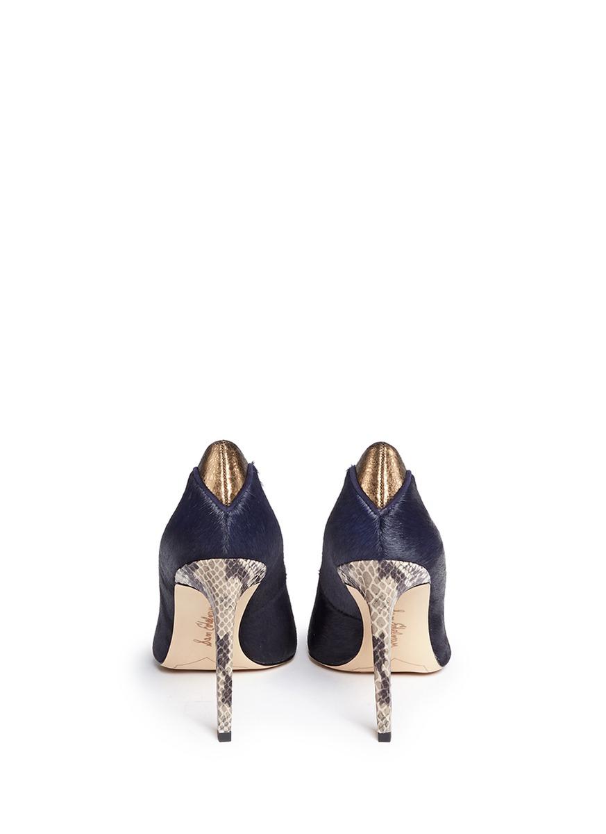 9d77631058a5 Sam Edelman  dea  Python Embossed Heel Calf Hair Pumps in Blue - Lyst