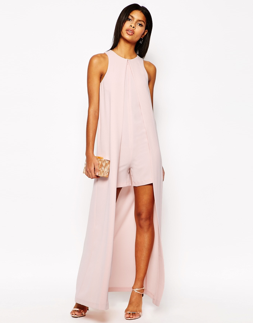 f3d6375261 ASOS Occasion Playsuit With Maxi Cape Detail in Pink - Lyst