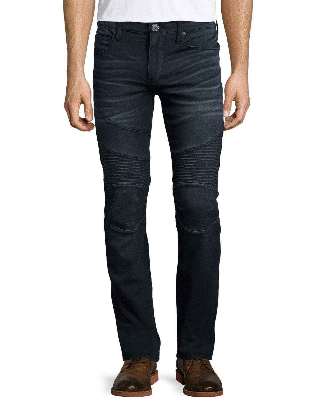 lyst true religion rocco over dye moto jeans in black. Black Bedroom Furniture Sets. Home Design Ideas