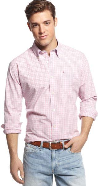 Tommy Hilfiger Check Pattern Camden Shirt In Pink For Men