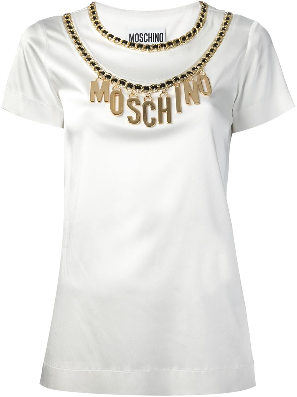 lyst moschino chain embellished t shirt in metallic. Black Bedroom Furniture Sets. Home Design Ideas