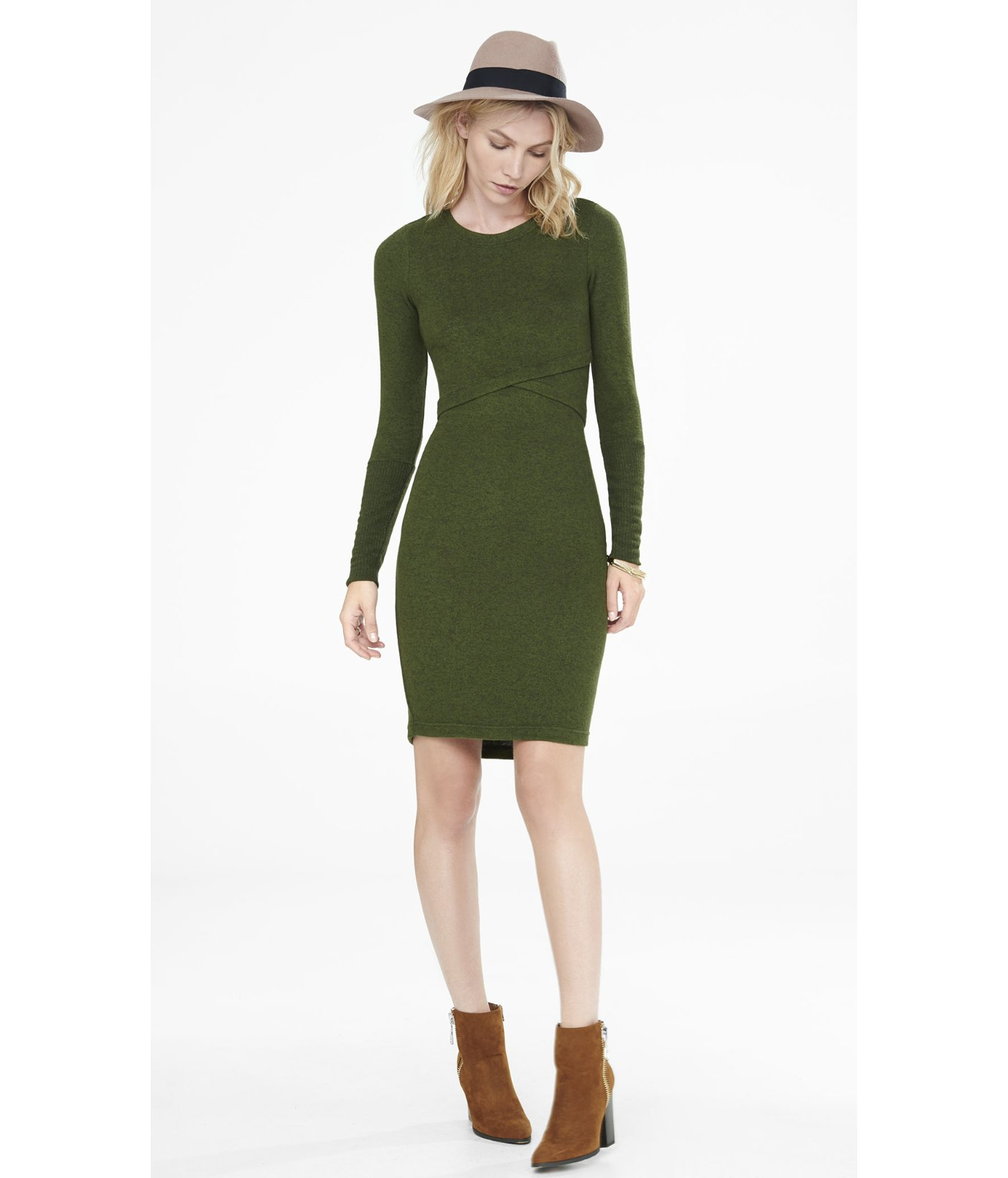 Express Dark Green Plush Jersey T-shirt Dress in Green | Lyst