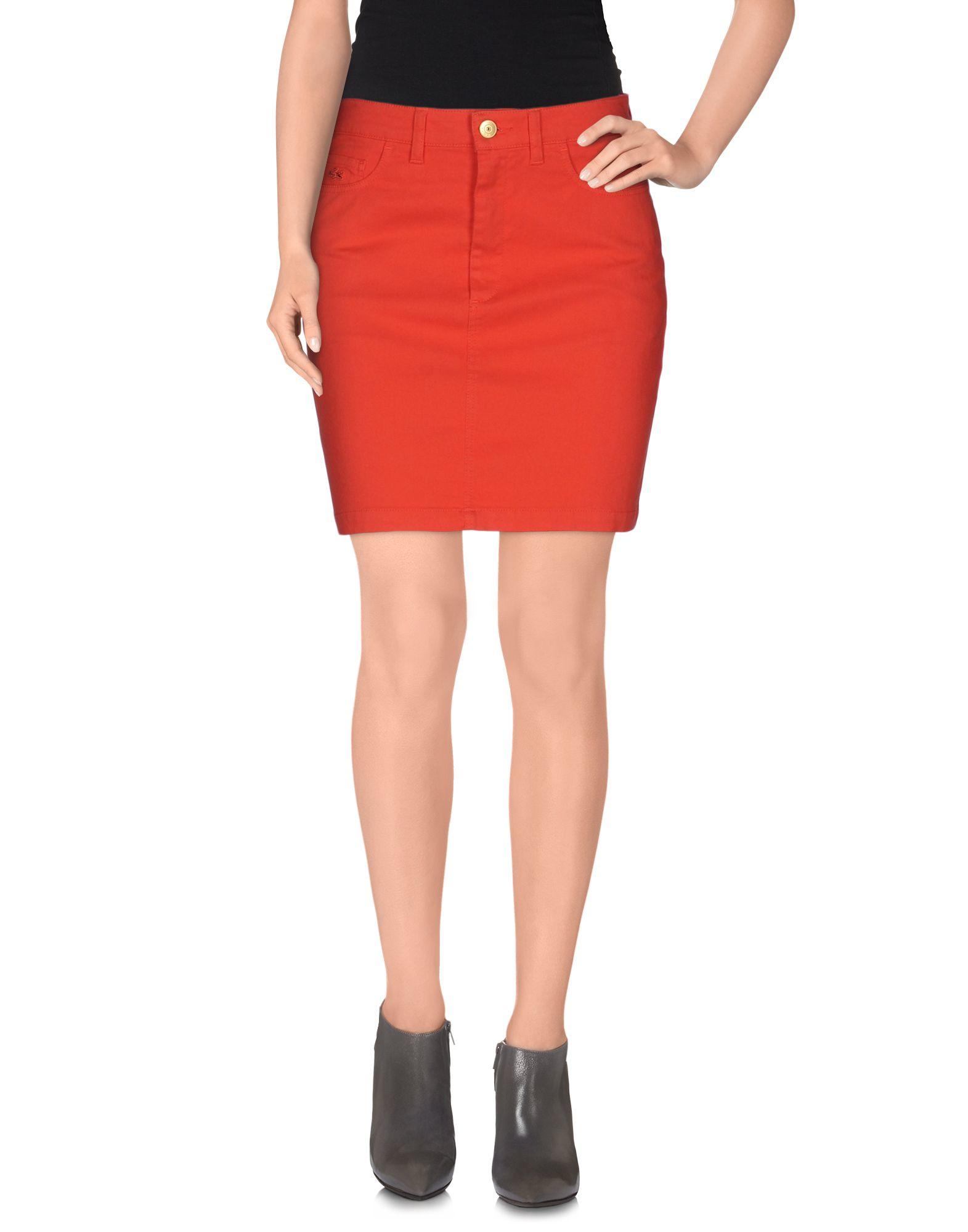 lacoste denim skirt in orange lyst