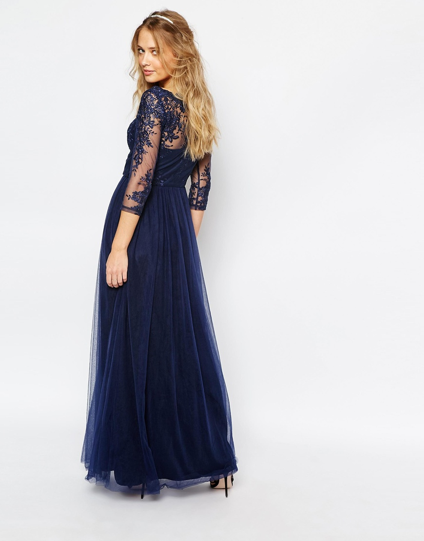 Chi Chi London Bardot Neck Maxi Dress With Premium Lace