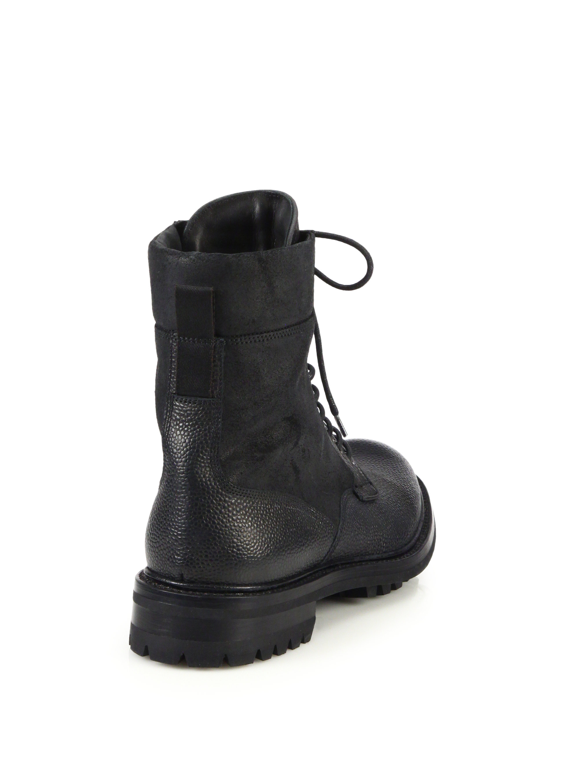 rag bone spencer leather commando boots in black for