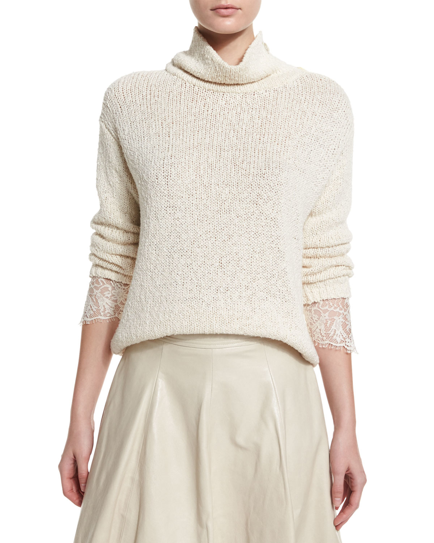 a9baa640a3 Lyst - Brunello Cucinelli Knit Lace-cuff Turtleneck Sweater in White