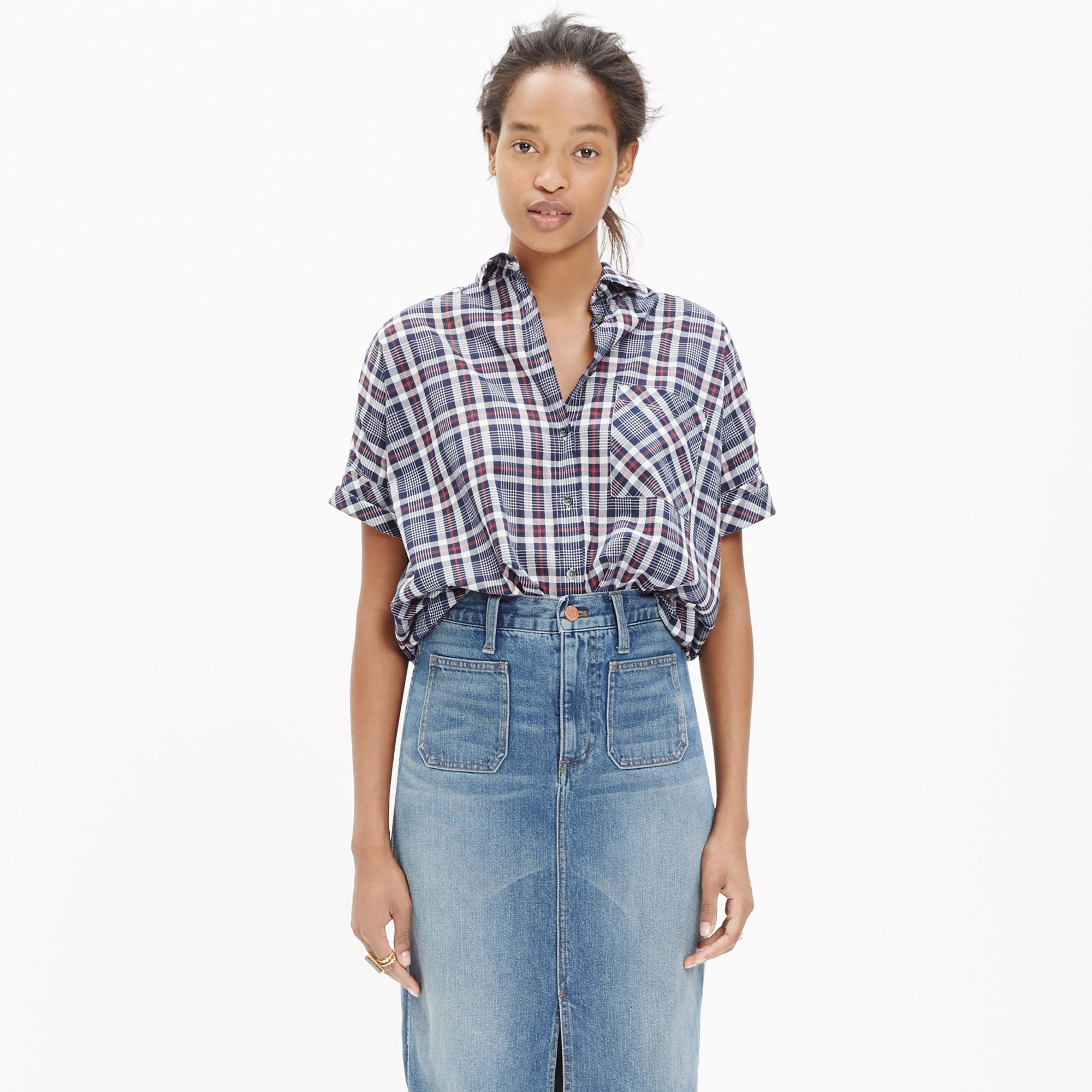 Lyst madewell courier shirt in dekalb plaid in gray for Grey plaid shirt womens