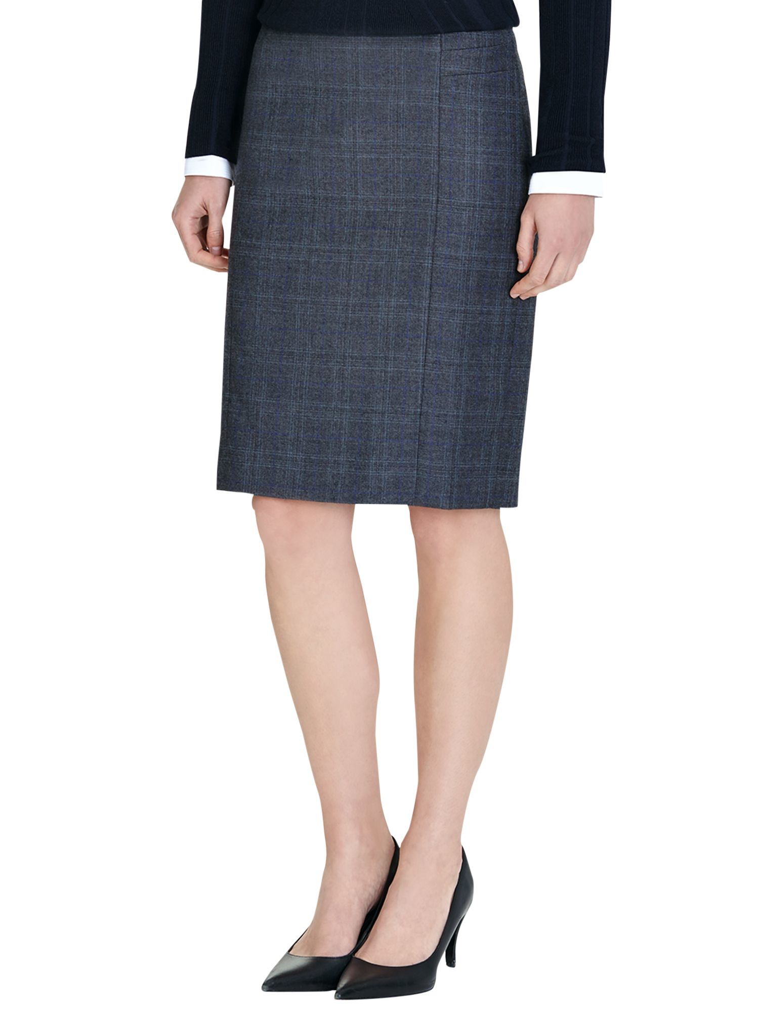 reed signature blue check pencil skirt in blue lyst