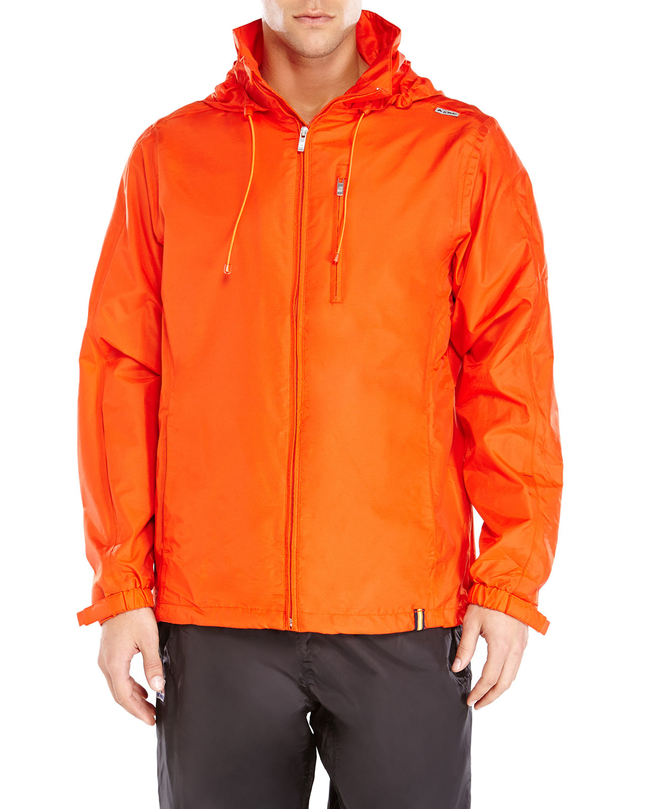 K-way Hooded Windbreaker Jacket in Orange for Men | Lyst