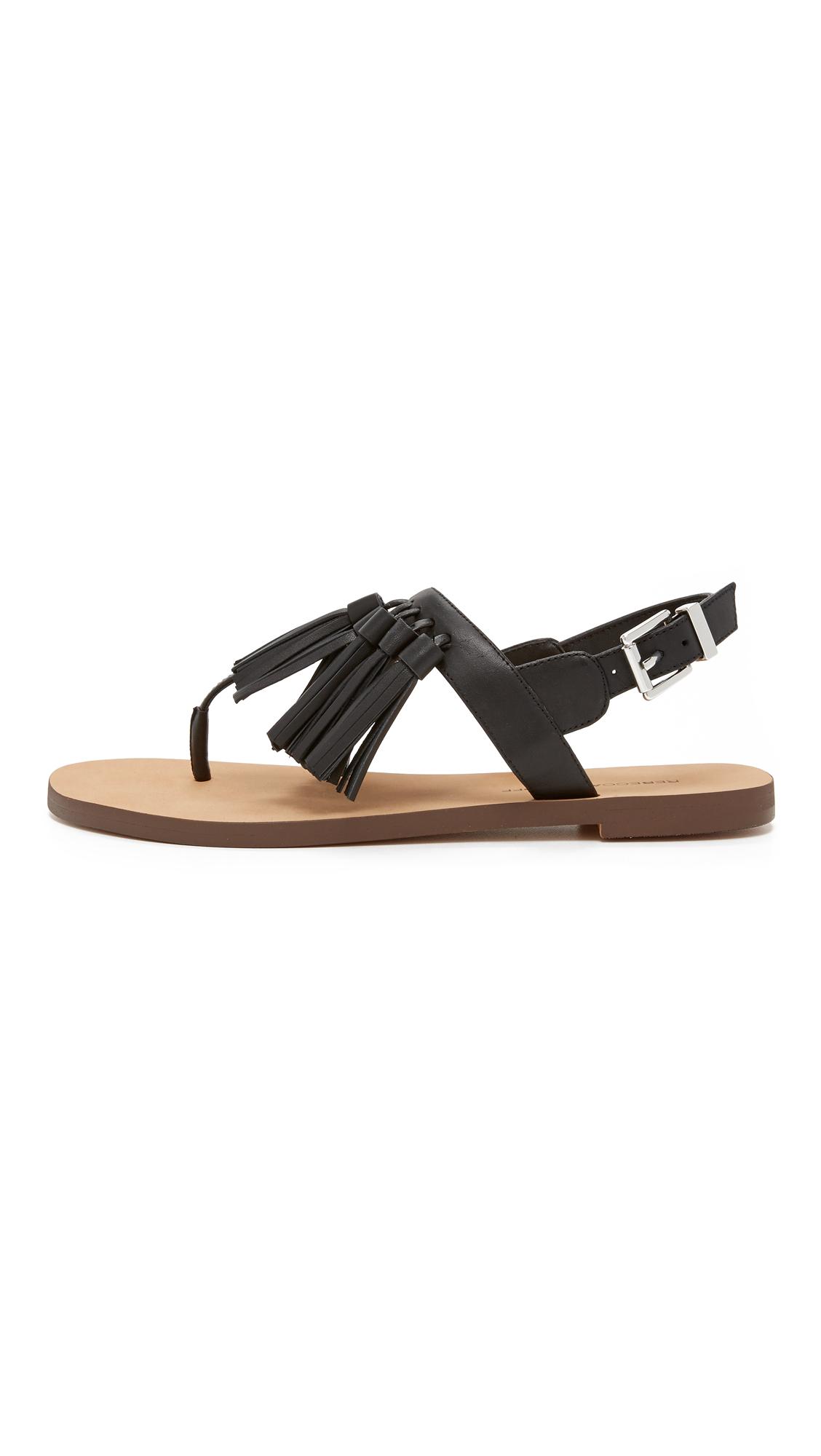 minkoff erin fringe sandals in black lyst