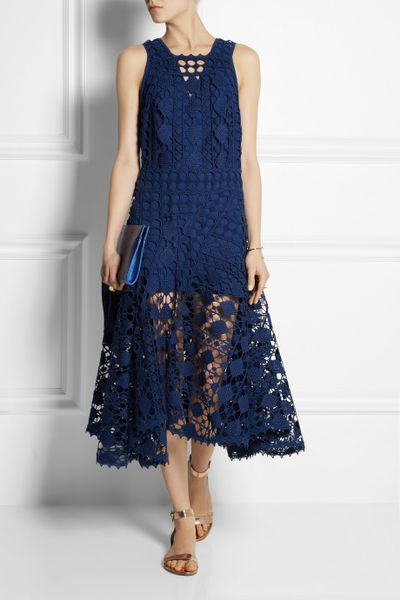 Crochet Lace Dress : ChloE Crocheted Lace Midi Dress in Blue Lyst
