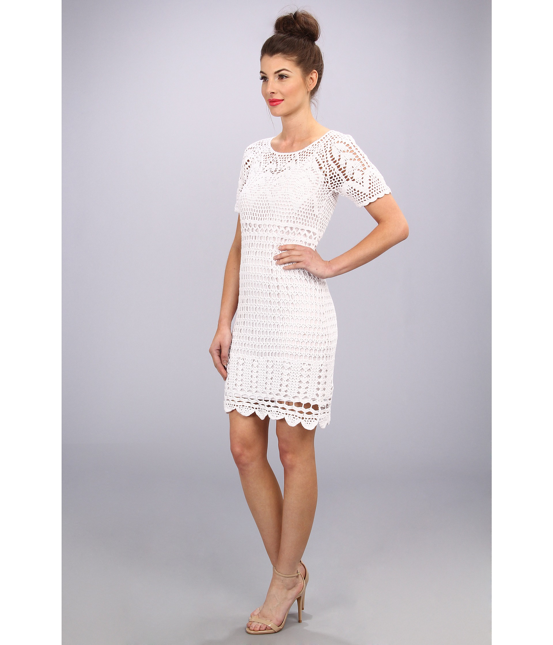 0dbd0fdb447d Lyst - Donna Morgan Short Sleeve Crochet Dress with Open Back in White