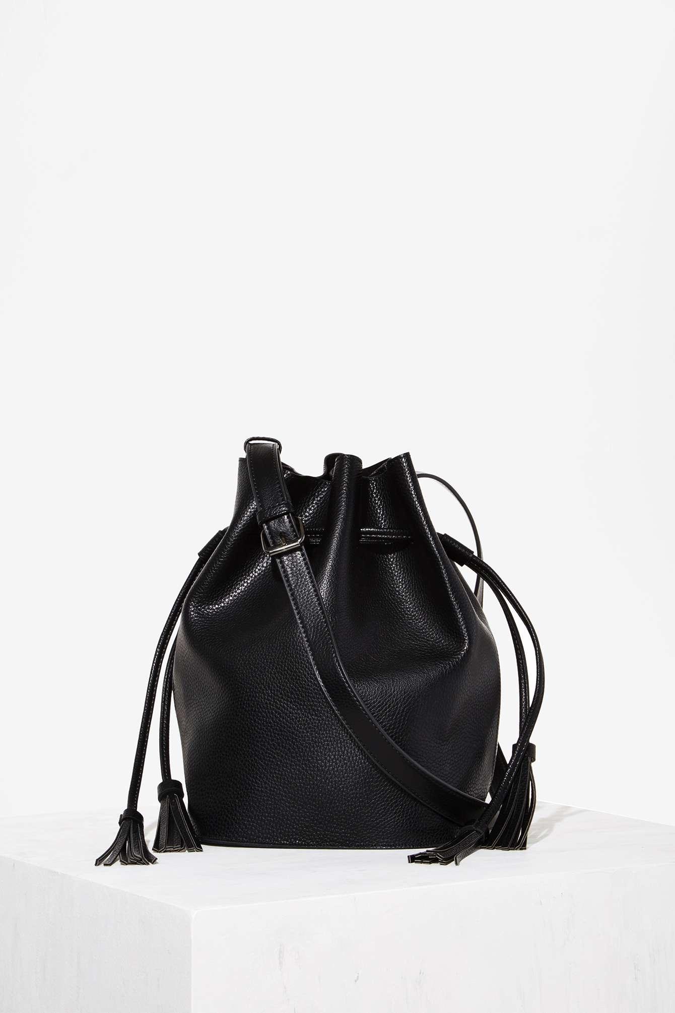 eebcf385e12b Lyst - Nasty Gal Lizzie Tassel Bucket Bag in Black