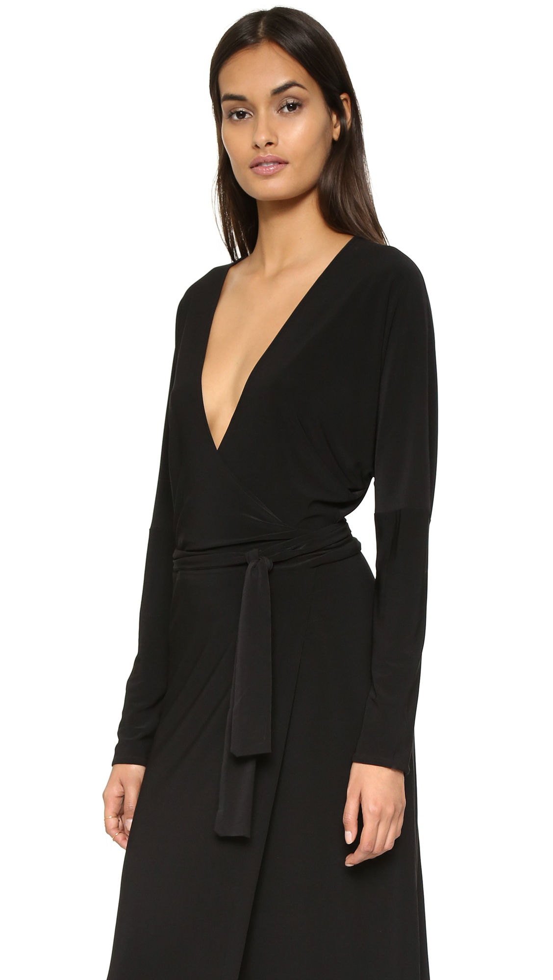 4955814d78b48f Norma Kamali Kamali Kulture Dolman Wrap Dress in Black - Lyst