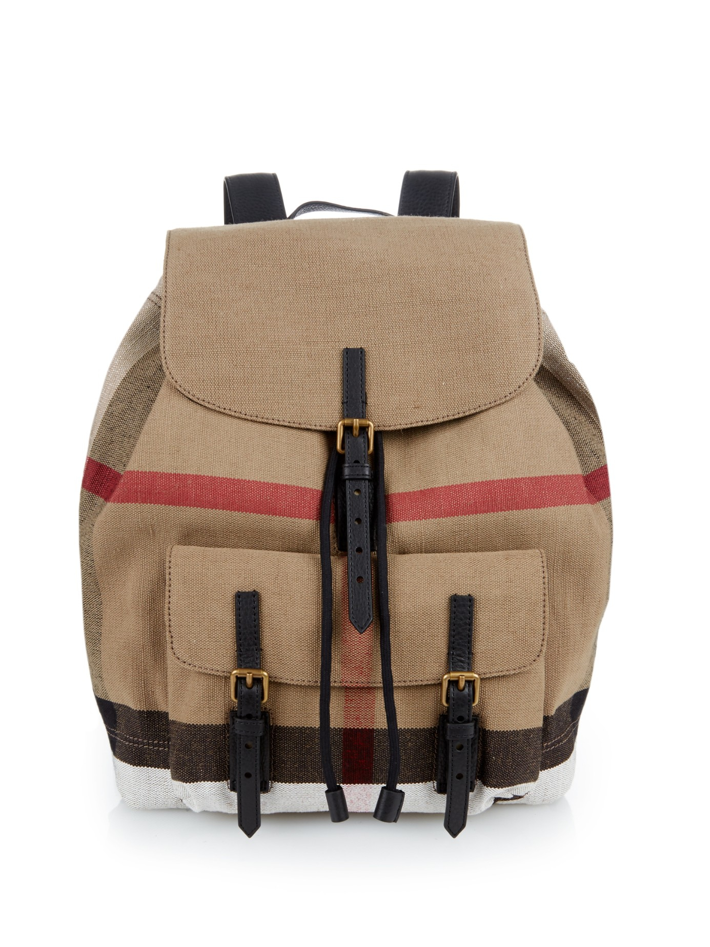 9629e2fd7f0e Burberry Checked Canvas Backpack in Natural for Men - Lyst