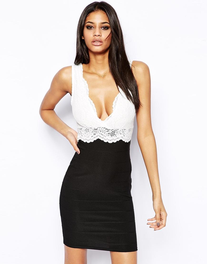 96b59dd0cbce Lyst - Lipsy Bodycon Dress with Lace Trim in Black