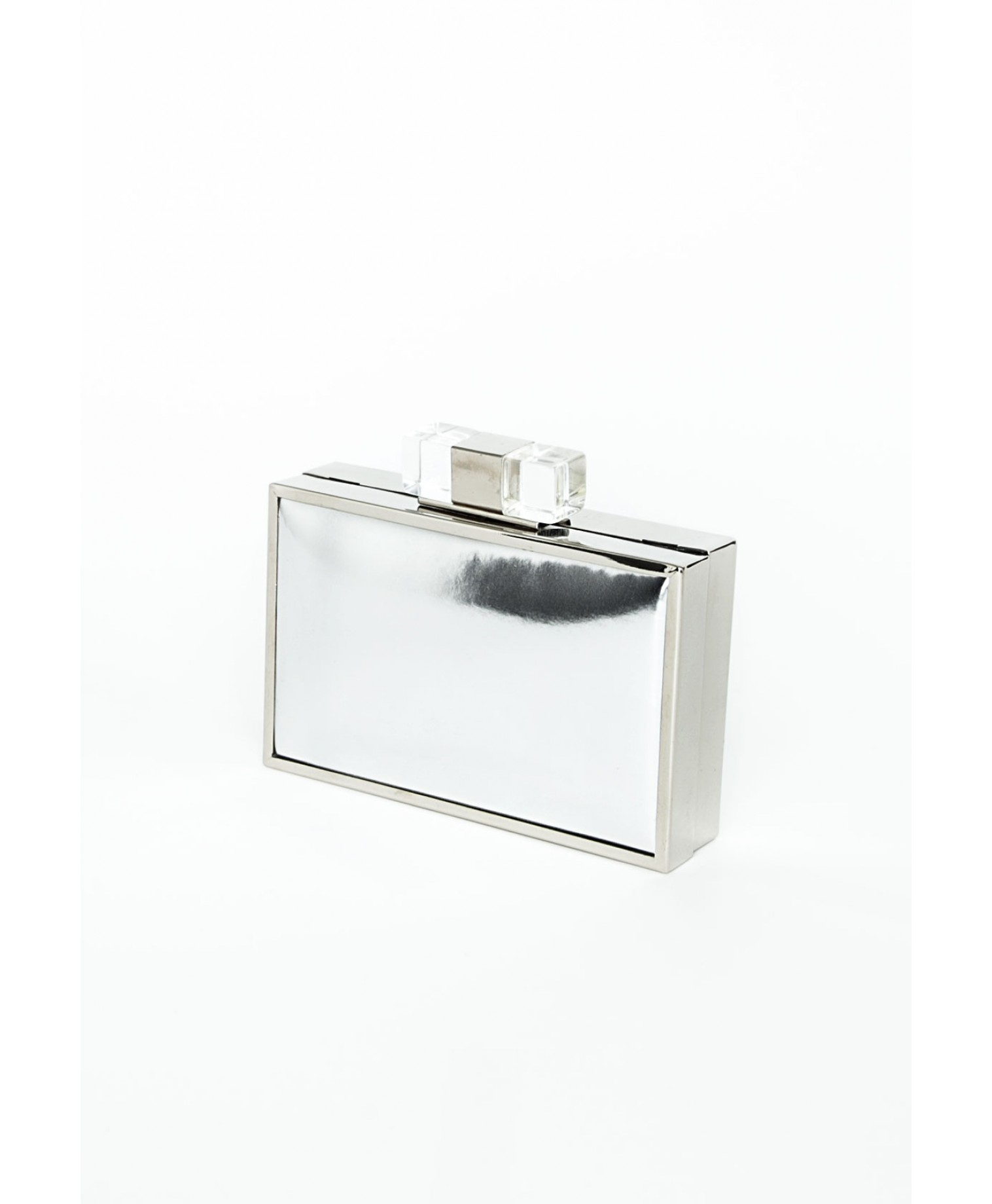missguided nanase metallic box clutch bag in silver in. Black Bedroom Furniture Sets. Home Design Ideas